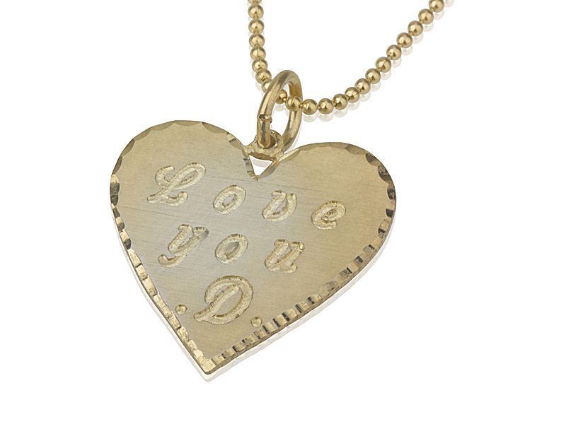 Yellow Gold Heart Engraved Name Necklace PersJewel