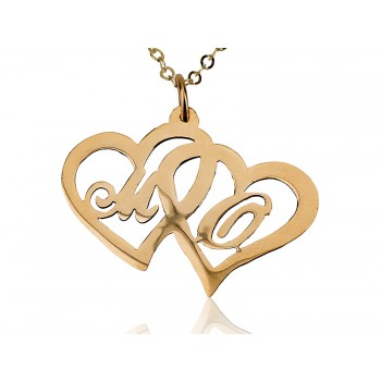 10 karat heart in heart two charm's letter name necklace
