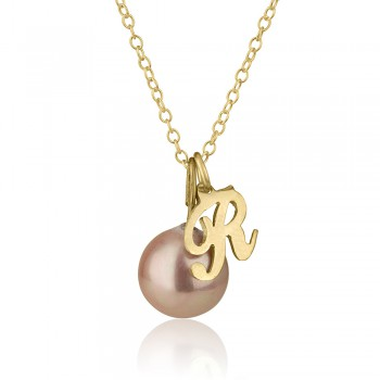 Splendid 10K Yellow Gold Initial Necklace with Pearl