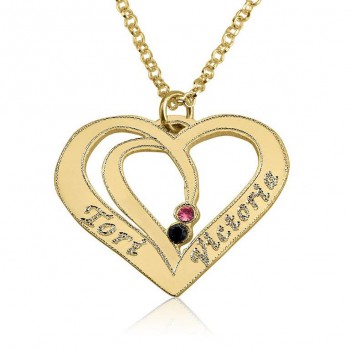 Personalized 10k solid gold entwined hearts necklace