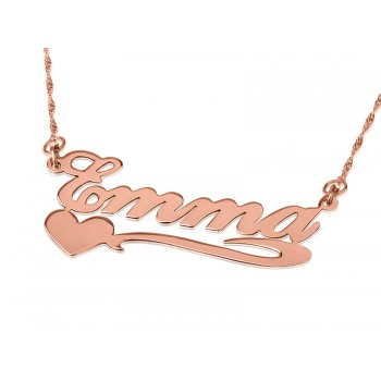 Rose Gold name necklace lower heart in real solid 14k gold