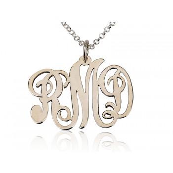 14k Solid White Gold Monogram Font necklace
