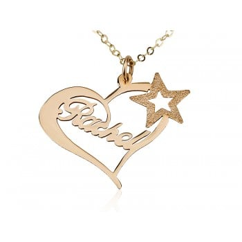 14K Solid Yellow Gold Heart Name Necklace with Sparkling Star
