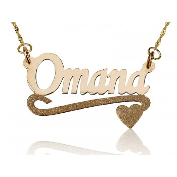 14K Solid Yellow Gold Lower Sparkling heart name necklace