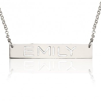 14k white gold laser engraving name necklace on bar design by PersJewel