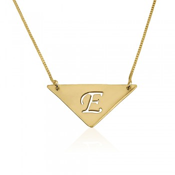 Trendy 14K Solid Yellow Gold Triangle Pendant with Initial Engraved