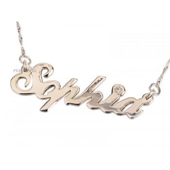 14k White Solid Gold With Diamond Name Necklace