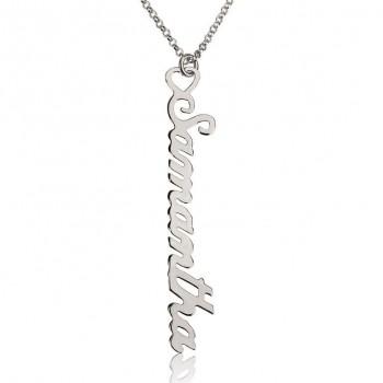 14k White Gold Vertical Custom Charm Necklaces for Moms