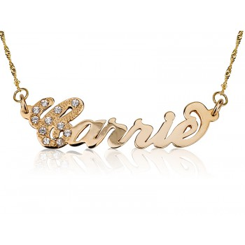 Name necklace of 18K Gold Plated Carrie Style First letter plaid with Crystal stones by persjewel