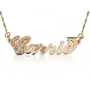 Prestige Gold Plated Carrie Style First Letter Diamonds personalized jewelry