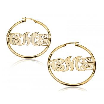 18k Yellow Gold Plated Hoop Monogram Earrings