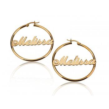 18k Gold Plated Middle Hoop Earrings
