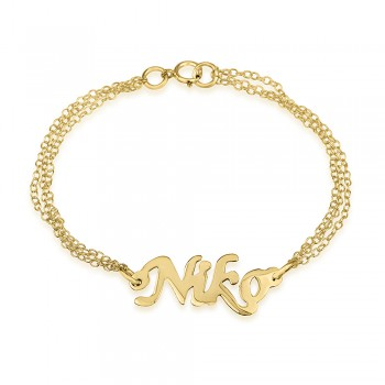 18k gold plated double chain bracelet