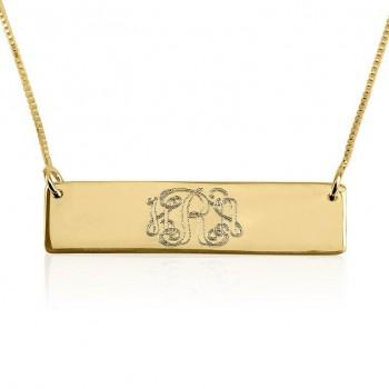 18k solid gold monogram bar necklace