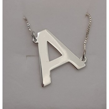 "Slanted Initial ""A"" Necklace in white solid gold Personalized jewelry"