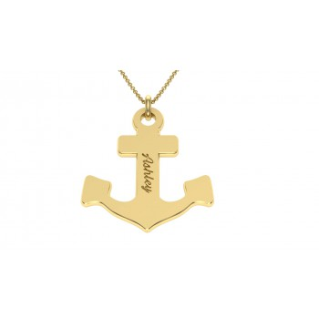 Anchor Custom jewelry in gold plate any name,