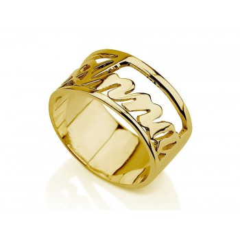 10k Solid Yellow Gold Gleaming Open Design Ring