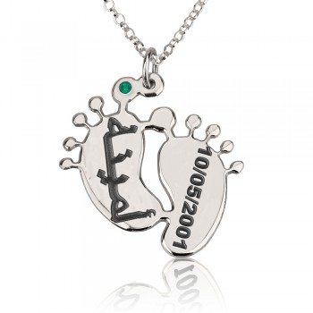 Baby birthstone Jewelry in sterling silver name and date