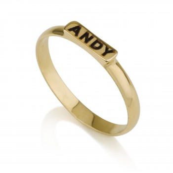 Custom gold rings with name on it in black engraving