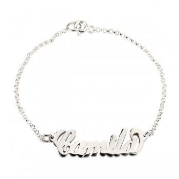 14k Solid White Gold Name Bracelet PersJewel