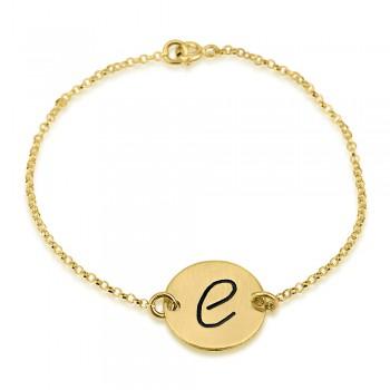 10k yellow gold engraved initial letter bracelet
