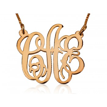 Up to 3 letters Celebrity Monogram personalized jewelry in solid gold