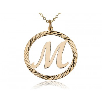 Circle Design 18K Gold Plated Initial Letter Necklace Name Necklace