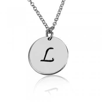 Circle silver initial charm necklace black engraving