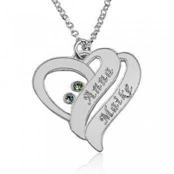 Couple birthstone Jewelry in 14k white gold with 2 names and stones