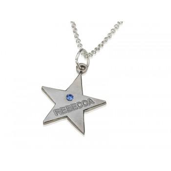 Custom Star Birthstone Name Necklace in Zterling Zilver