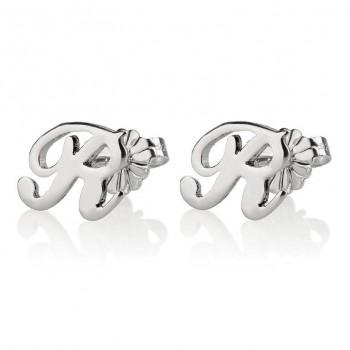 14k white gold initial earrings