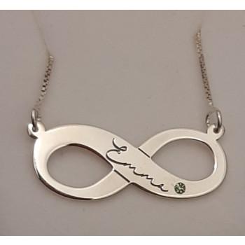 "Sterling Silver Bridesmaid Ëmma"" Engraved Infinity Swarovski Name Necklace"