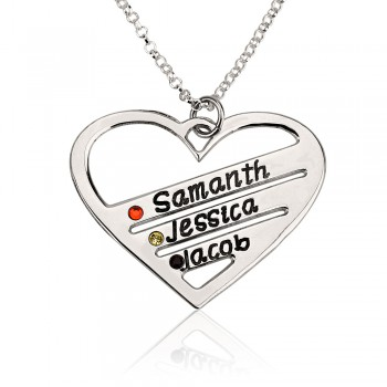 Sterling silver Birthstone Heart Name Necklace up to 4 names