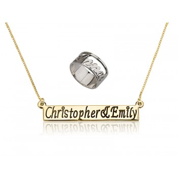 Mix set of name necklace engraving bar and silver personalized ring