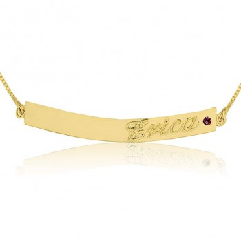Gold plated  bar name necklace with Swarovski stone by PersJewel