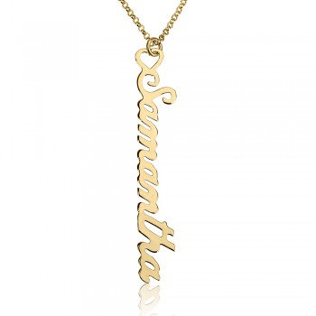 Gold Plated Personalized Vertical Name Necklace with Heart