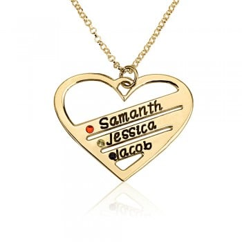 Gold Plated Birthstone Heart Engraved Names with birthstones - Family jewelry