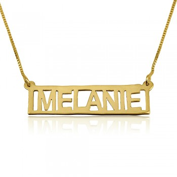 Gold bar pendant necklace custom jewelry in gold plated with box chain