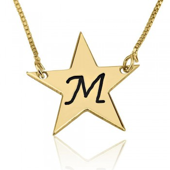 Gold initial pendant Star shape in black engraving letter in 14k solid real gold