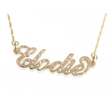 Gold name necklace laser cut in 14k custom name up to 10 letters