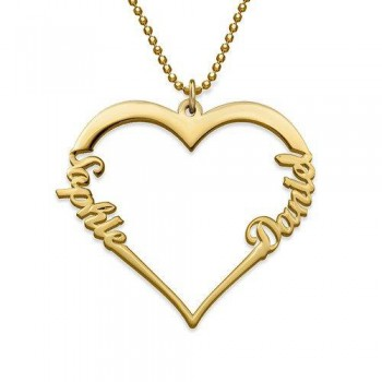 18K Gold Plate Heart Necklace with Two Names
