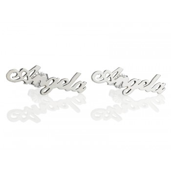 Earrings in a gold stud design - real 14k white gold