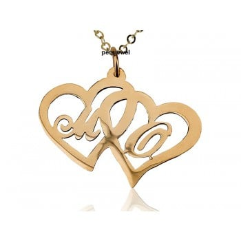 Heart in heart initial Personalized gifts for her - Select two initial's letters