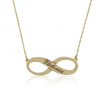 10k Yellow Gold Infinity Personalized Necklace for Mom