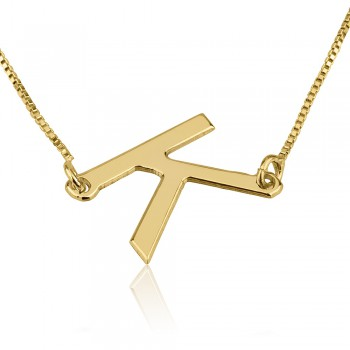 Initial necklace 10k yellow gold vertical