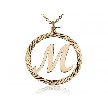 Initial necklace gold plated in a circle - prestige Jewelry custom letter