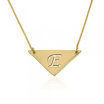 Initial necklace in triangle shape 10k yellow gold, laser cut letter.