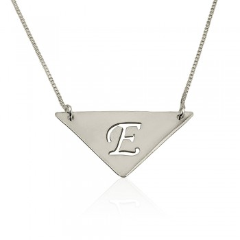 Initial necklace in triangle shape, come in 925 sterling silver pendant and chain