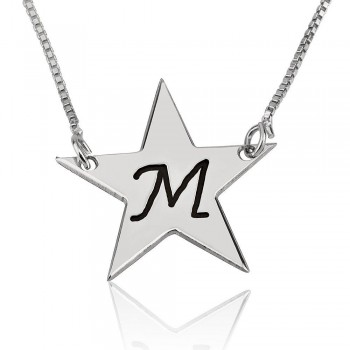 Initial necklace star shape with black engraving