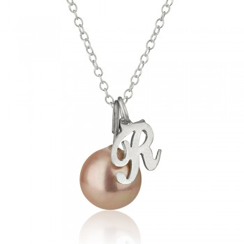 Initial pendant necklace with pearl in Sterling silver